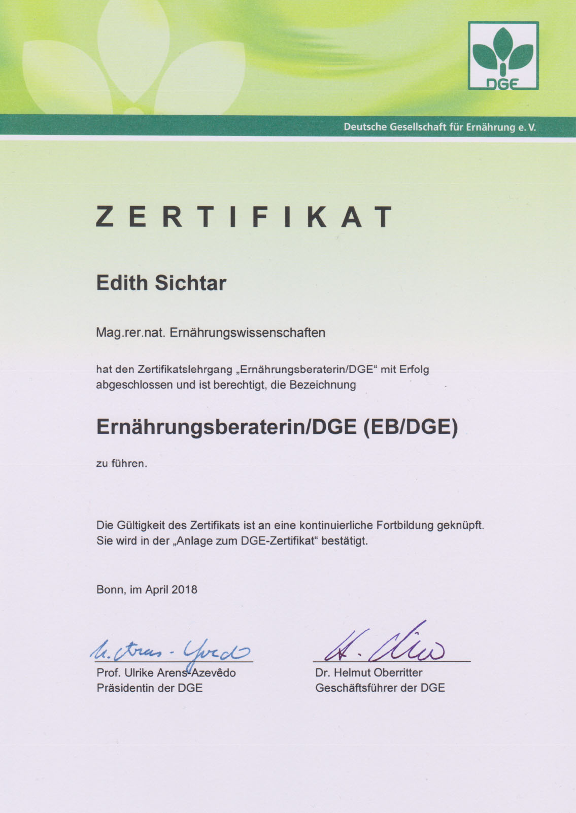 Zertifikat Ernährungsberaterin, Edith Sichtar