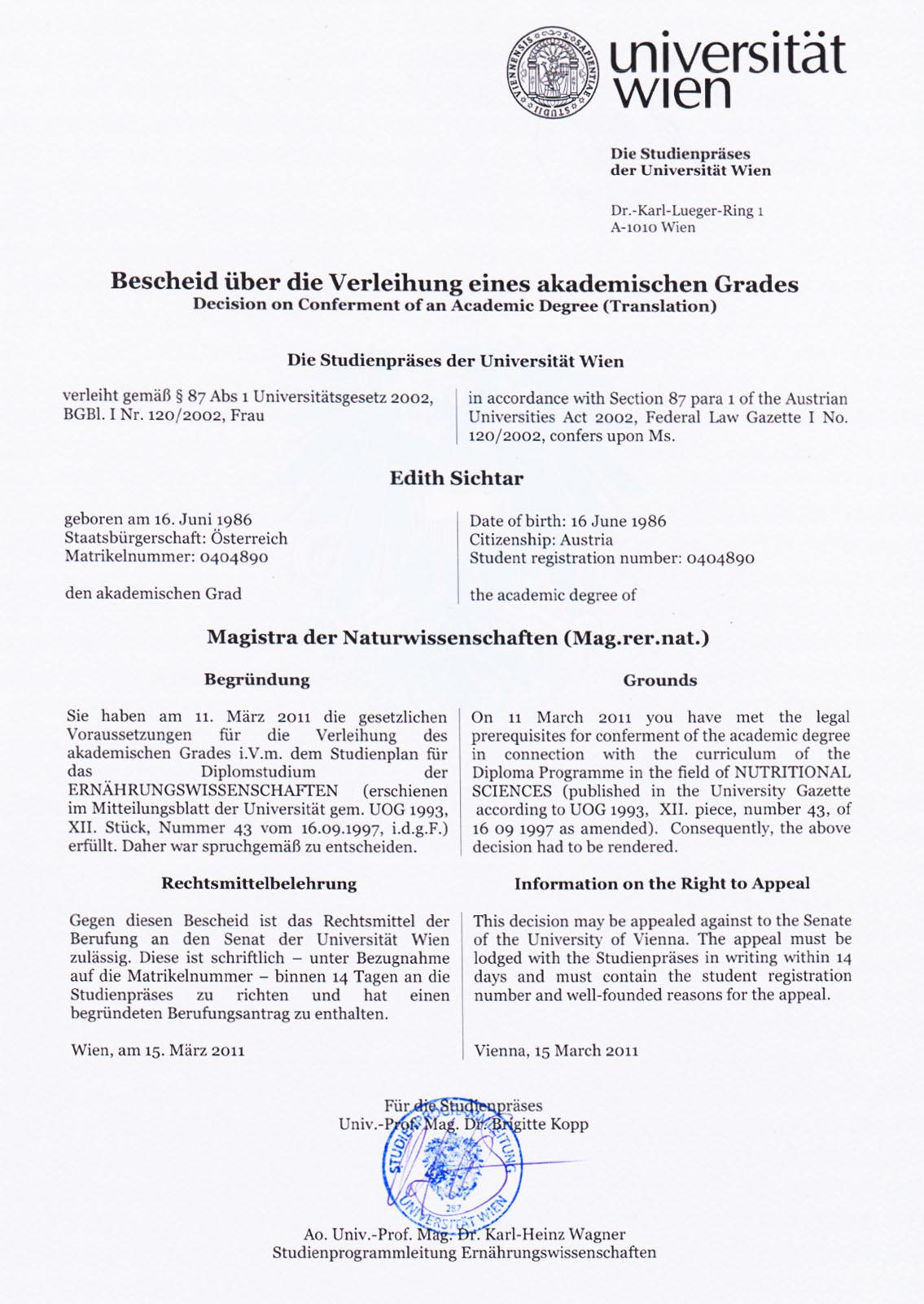 Edith Sichtar, Akademischer Grad, Wien