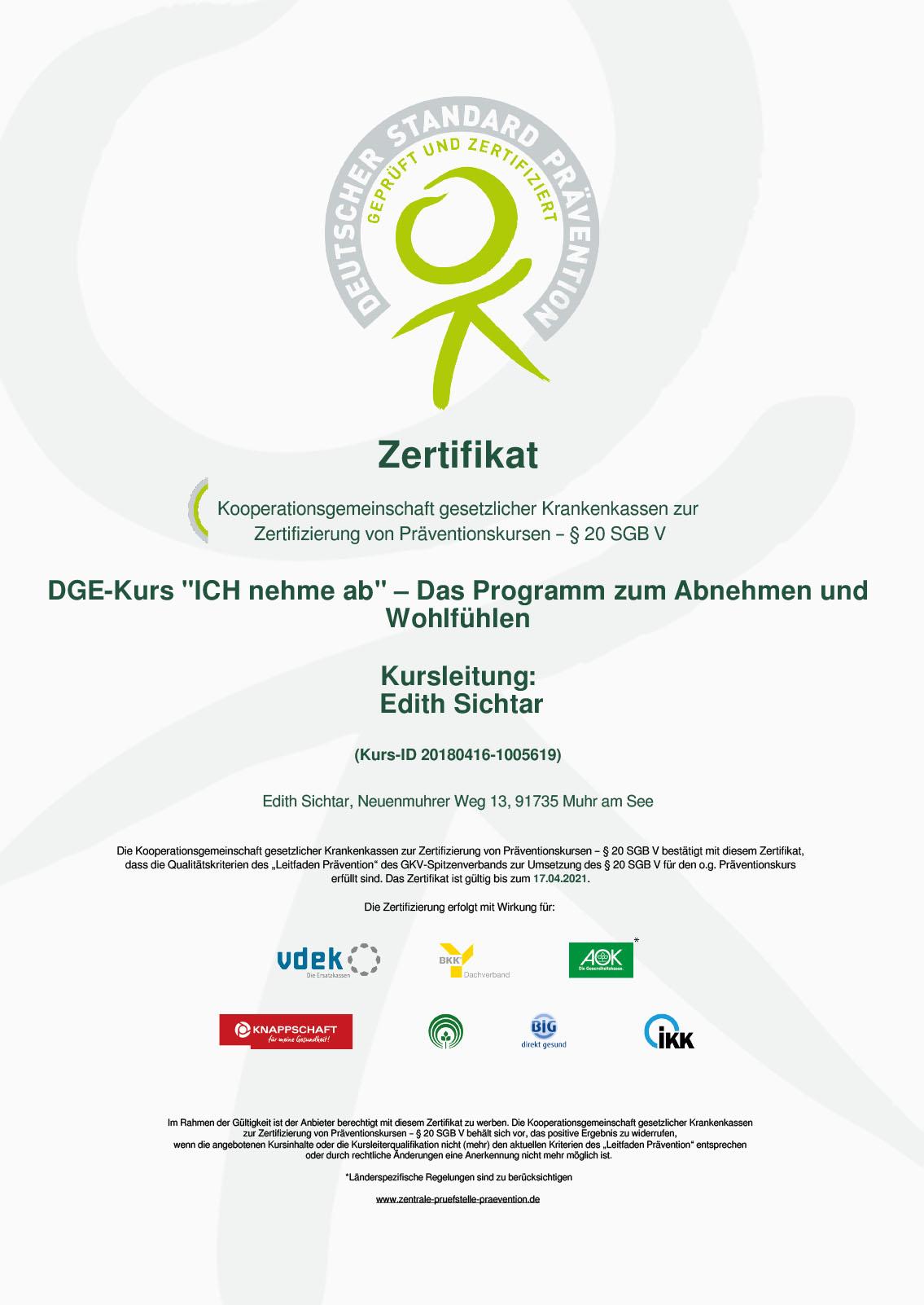 Zertifikat Ernährungsberatung